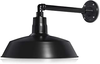 14in. Satin Black Outdoor Gooseneck Barn Light Fixture with 13in. Long Extension Arm - Wall Sconce Farmhouse, Vintage, Antique Style - UL Listed - 9W 900lm A19 LED Bulb (5000K Cool White)