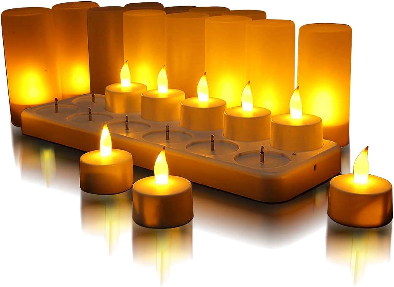 12er LED flammenlose Kerzen,flackernd wie echte Kerzen,LED-Weihnachtskerzen,Wiederaufladbare Kerzen mit Ladestation, Party, Hochzeit, Geburtstags(Gelb)