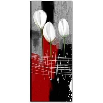 Fiori Kaori.Quadri Moderni Verticali Dipinti A Mano Su Tela Rosso Grigio Nero