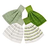 ISTOWEL Hanging Kitchen Hand Towels and Dishcloths Sets with Loop 100% Soft Cotton. Super Absorbent Hand Towels in Convenient 12x12, Machine Washable. Stylish & Attractive 4 Piece Sets in Green