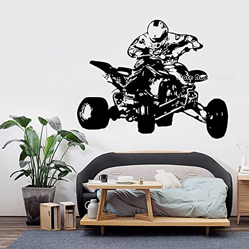 Zdklfm69 Adhesivos Pared Pegatinas de Pared Motor de Deporte Extremo Vinilo Creativo decoración de habitación de niños Adolescentes Mural de Motocicleta de Cuatro Ruedas 71x56cm