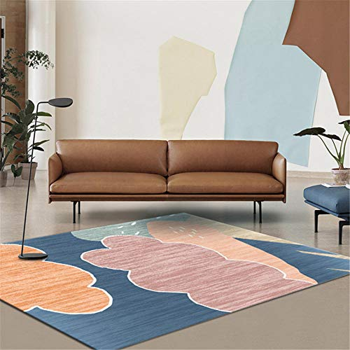 Xiaosua Wear-Resistant Rug Modern minimalist abstract cartoon clouds graffiti pattern living room bedroom carpet cozy stain-resistant Kids Play Room Rugblue 200x300cm