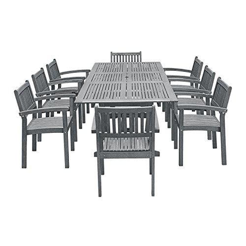 Vifah V1294SET24 Outdoor Patio Dining Set with Extension Table, Hand-Scraped Wood