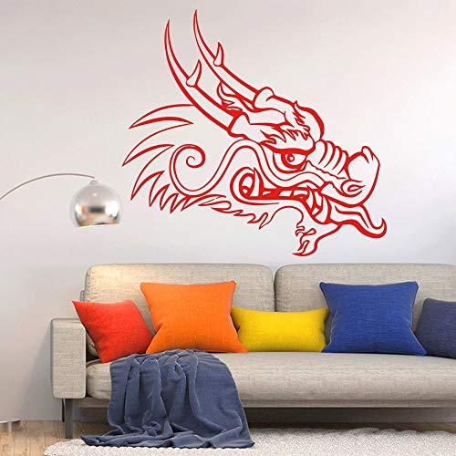 Hllhpc muurstickers, Chinese draak, muurstickers, decoratie, accessoires voor woonkamer, vinyl, waterbestendig, decoratie van de kamer, 58 x 54 cm