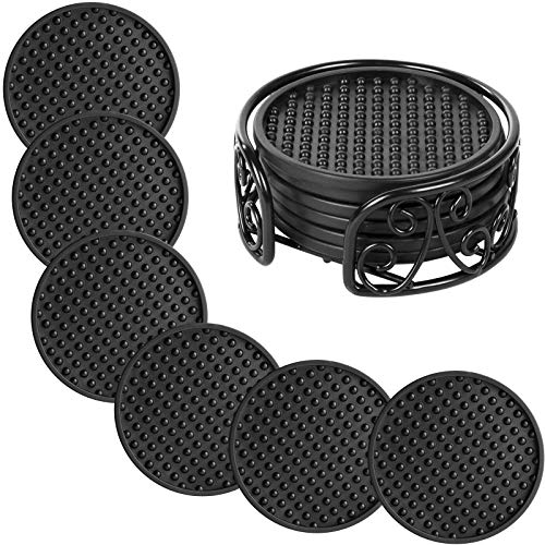 Set of 6 Drink Coasters with Metal Holder, Y&M Drink Coasters - Absorbs Moisture and Prevents Table Damage, Modern Black Silicone Coaster with Non-Slip Bottom for Drinking Glasses Gifts (Black)