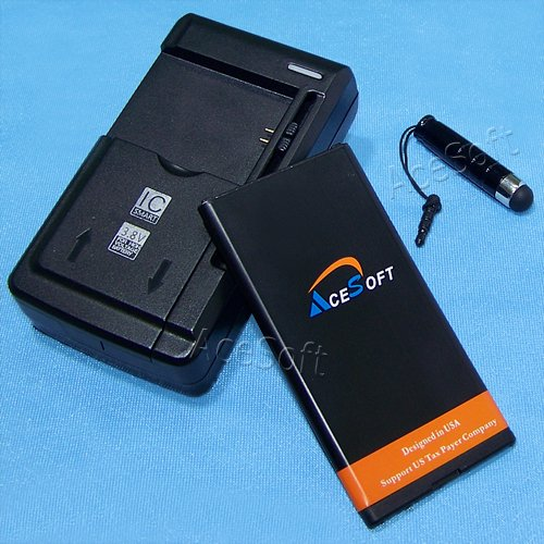AceSoft 2650mAh Extended Slim Grade A Battery Universal Charger Cellphone Stylus for AT&T Microsoft Lumia 640 CellPhone - High Capacity