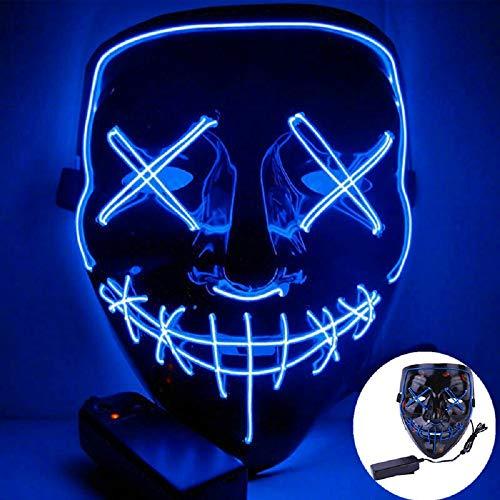 CICADAS LED Purge Maske,Halloween Maske mit 3 Blitzmodifür Fasching Karneval Party Kostüm Cosplay Dekoration (Blau)