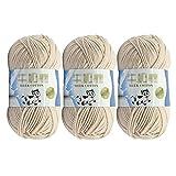 3 hilos de algodón para tejer de 50 g, hilo de lana de ganchillo suave y grueso tejido a mano, para hacer ganchillo (beige)
