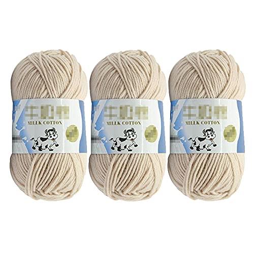 3 hilos de algodón para tejer de 50 g, hilo de lana de ganchillo suave y grueso tejido a mano, para...