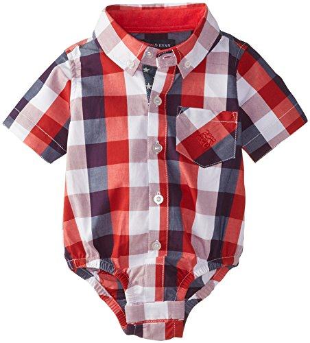 Andy & Evan Baby Boys' Newborn Red Buffalo Check Shirtzie, 6-12 Months