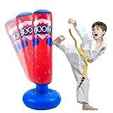JanTeelGO Saco de Boxeo Inflable para niños de 120 cm, Saco de Boxeo Independiente Que se recupera para Practicar Kickboxing, kárate, Taekwondo para aliviar la energía acumulada (Rojo, 120cm)