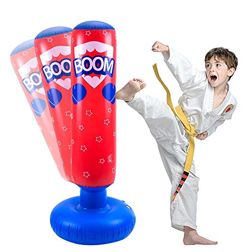 JanTeelGO Sacco da Boxe Gonfiabile per Bambini 120 cm, Sacco da Boxe autoportante Che rimbalza per praticare Kickboxing, Karate, Taekwondo per alleviare l'energia accumulata (Rosso, 120 cm)