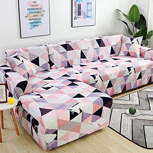 Funda de sofá elástica seccional para Sala de Estar Funda de sofá en Forma de L Funda de sillón decoración del hogar A15 3 plazas