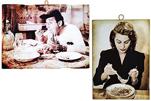 """KUSTOM ART Juego de 2 cuadros de estilo vintage """"Actores famososos"""" Alberto Sordi y Sofia Loren, impresión sobre madera para decoración de restaurante pizzería bar hotel"""