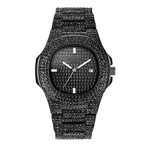 Reloj Steel Strip Reloj De Cuarzo Calendario Reloj Femenino Reloj De Diamantes con Tachuelas @ Negro (Reloj)