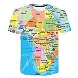 BZPOVB T-Shirts Refroidir La Mode Unisexe Chemises à Manches Courtes 3D Creative Imprimé Afrique Carte Graphique Mode Personnalité T-Shirts (Color : Multi-Colored, Size : XXL)