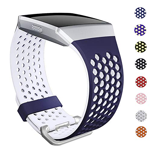 SKYLET Bands Compatible with Fitbit Ionic, Soft Silicone Breathable Replacement Wristband Compatible with Fitbit Ionic Smart Watch with Buckle [Navy Blue-White, Large]