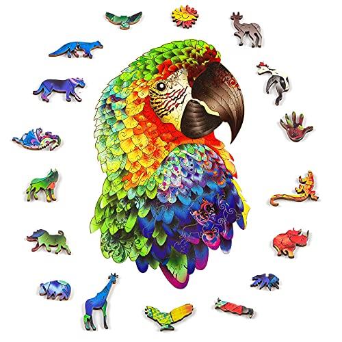Holz Puzzles - Papagei einzigartige Form Puzzles für Erwachsene und Kinder dekorative Puzzle personalisierte Geschenk für Weihnachten und Geburtstag (Mitte)