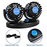 Fansport Ventilador de Coche 12 V con 360 ° Silencioso Giratorio de Doble Cabeza Ajustable Velocidad Asiento Trasero Ventilador Fan para Coche Furgoneta SUV
