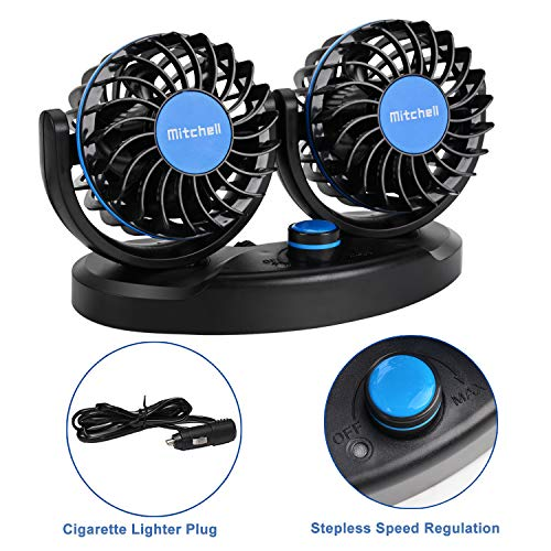 Fansport 12V 24 Auto Ventilator 360 Grad drehbar Elektroauto Luftventilatoren Lüfter Kühlluftventilator Zigarettenanzünder und Stufenlose Geschwindigkeit Einstellbare für Auto SUV