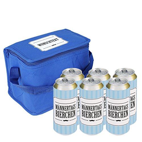Lustapotheke® Dosenbier in Kühltasche - Männertagsbierchen - mit Wunschtext auf der Kühltasche