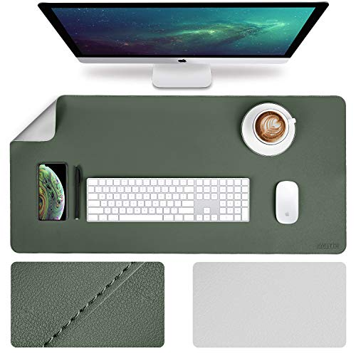Office Desk Pad Desktop Protector, 2019 Upgrade Sewing Edge 35.4 x 17Inch PU Leather Desk Mat, Gaming Mouse Pad, Waterproof Desk Blotter Pad, Double Sides(Dark Green/Gray)