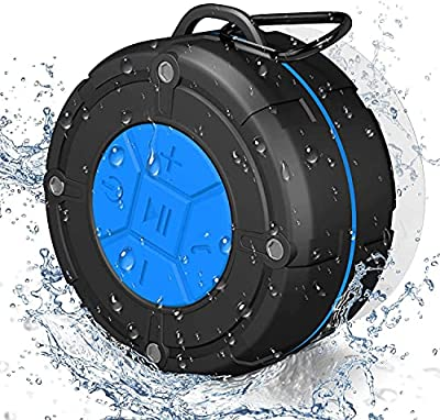 PEYOU Portable Shower Speaker 5.0 - IPX7 Waterproof Wireless Shower Radios with Strong Suction Cup, Built-in Microphone for Phone Hands-free Calling Compatible for All Devices IOS/Android from Peyou
