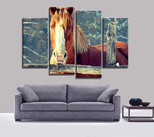 ANTAIBM® 4 Wandkunst-Malplakat Holzrahmen - verschiedene Größen - verschiedene Stile4 Stück Sonnenuntergang Pferd Leinwand Malerei Tier Poster Vintage Grünland Wand Weihnachten Leinwand Bilder für Hom