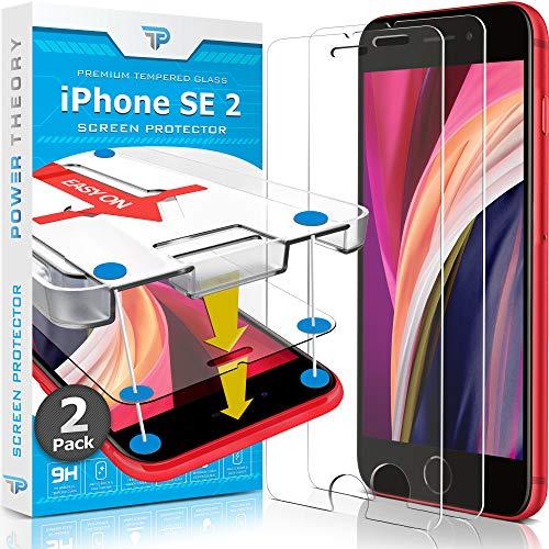 Power Theory Panzerglas kompatibel mit iPhone SE 2020 [2 Stück] - Schutzfolie mit Schablone für iPhone SE 2, Panzerglasfolie, Panzerfolie, Glas Folie, Displayschutzfolie, Schutzglas