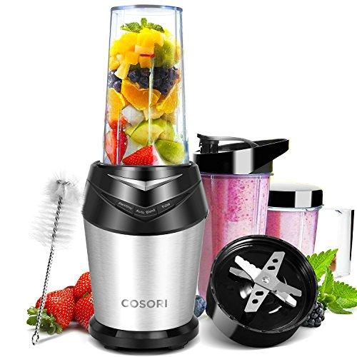 Cosori Standmixer Blender Smoothie Maker, Ice-Crusher 1000W, 23.000 U/min, Mixer mit 6 Edelstahlmesser, Inkl. 3 BPA-freie Tritan-Trinkflasche und Reinigungsbürste, Schwarz/Silber