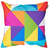 Bean Bag Bazaar Gartenkissen, Mehrfarbig Geometrisch, 2er-Pack, 43cm, Kissen Wasserabweisend, Textilfaserfüllung–, Dekoratives Zierkissen für Gartenbänke, Stühle oder Sofas