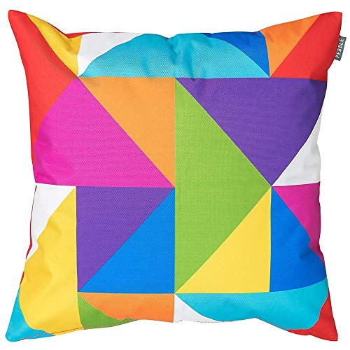 Bean Bag Bazaar Outdoor Cushion, 4 Pack, Technicolour Geometric, 43cm, Fibre Filled Decorative Water Resistant Scatter Cushions for Garden Chair or Patio Furniture Bench Sofa