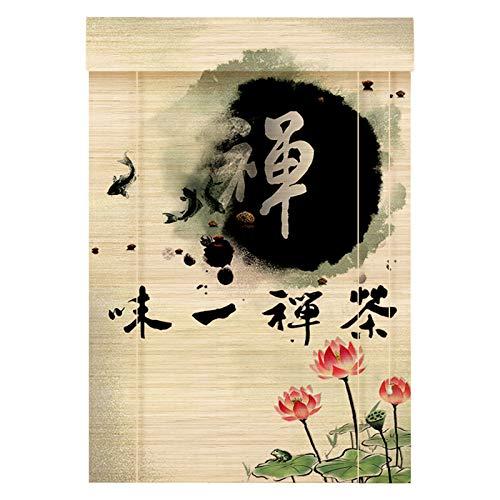 CAIJUN Bambú Persianas Romanas Enrollables, Estilo Retro Ventilado Cortina con 8'-Valance Proteccion Solar para Sala De Te, Personalizable (Color : B, Size : 80x200(31'x79'))