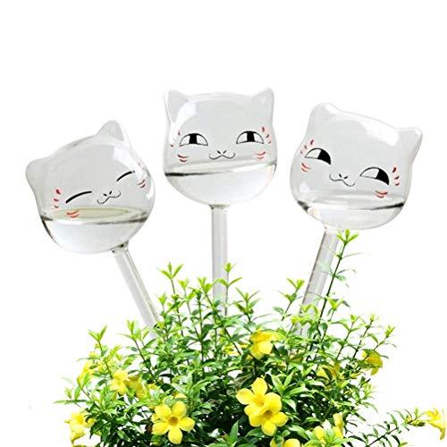 BSTQC Bewässerungskugel 3 Stück Katze Form Selbstbewässerung Glühbirnen Automatische Geräte für Indoor Outdoor Pflanzen