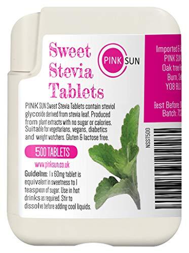 PINK SUN Stevia Comprimés 500 Onglets Substitut Alternatif de Sucre Sans Lactose d'édulcorant Dans le Distributeur Pratique - Stevia Tablets Tabs Rebaudioside A