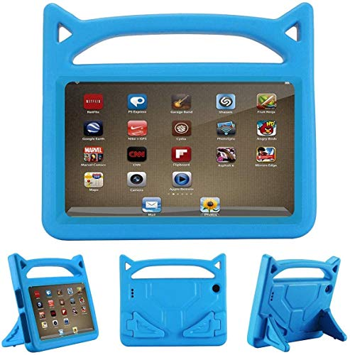 2019 F i r e 7 inch case Kids Light Weight Shock Proof Handle and foldable stand Case for A m a z o n F i r e 7 Tablet (7' Display -Compatible 2017 and 2015 F i r e 7) (F i r e 7 Case, Blue)
