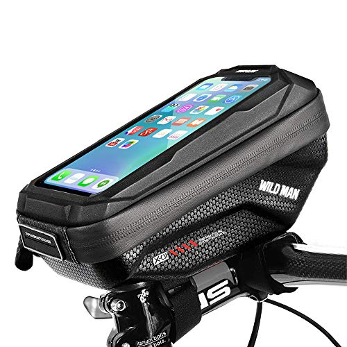 Cheftick Bike Handlebar Bag, Waterproof Bicycle Frame Top Tube Pouch Touchscreen Phone holder Bag with Headphone Hole for any Smart Phone within 6.5 inch