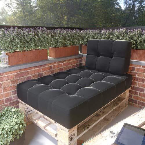 MSS® Relax-Set Sitz & Seiten Palettenkissen Anthrazit dunkel