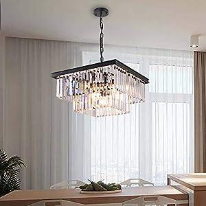"Wellmet Modern Crystal Chandelier, 9 Lights Square Black Farmhouse Chandeliers with K9 Crystals, Pendant Light Fixture for Foyer Dining Room Bathroom Bedroom Livingroom Kitchen Island L19.68""X W19.68"""