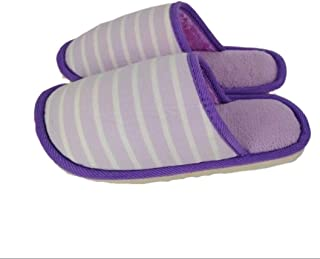 Winter Home Indoor Non-Slip Soft Thick Bottom Cotton Slippers Couple Warm Plush Cotton Slippers Men Slippers Anti-Skid Indoor Cosy Shoes (Color : Purple, Size : 43 Yards)