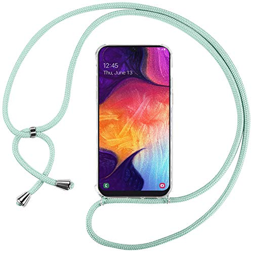 Ingen Funda con Cuerda para Samsung Galaxy A70 - Carcasa Transparente TPU Suave Silicona Case con Colgante - Verde