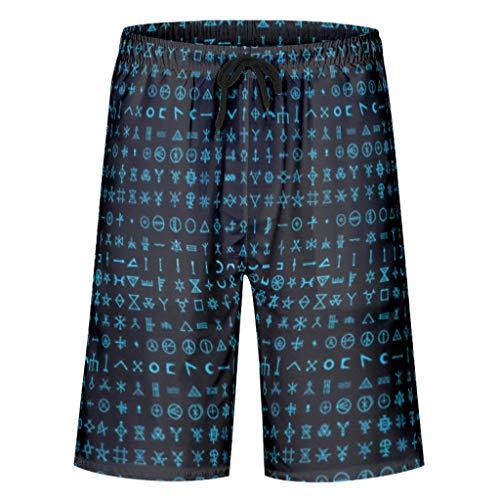 kikomia Maillot de bain pour homme Vintage Bleu nordique Viking Mots Mythologie Imprimé Mode Surf Short avec poches Doublure en maille 3XL Blanc