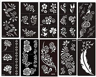 Sommer Aktion Henna Tattoo Schablonen 10 Sheets Set Flowers