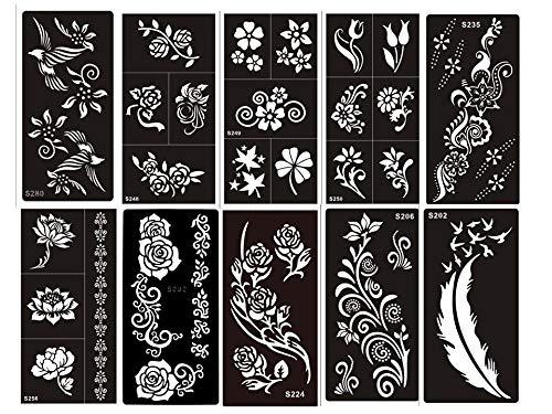 10 fogli Mehndi Tattoo Stencil Mehndi Tatuaggi all'hennè Set Flowers - Usa e getta - Per Tatuaggio all'henné, scintillio tatuaggio e airbrush tatuaggio