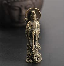 Copper Statue Chinese Bronze Buddhism Kwan-yin Guan Yin Lotus Flower Pendant