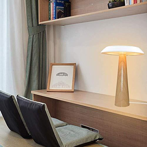 L.W.S Lámpara de Escritorio Lámpara de mesita de Noche para Dormitorio nórdico, Creativo, Simple, Moderno, Sala de Estar, Personalidad de Madera Maciza, lámpara de Mesa de Seta Decorativa, 25 * 34 cm
