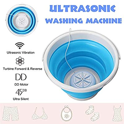 Portable Mini Turbo Washing Machine with Foldable Tub Compact Ultrasonic Turbine Washer USB Powered Travel Laundry Washer Camping Apartments Dorms RV Business Trip (Blue)