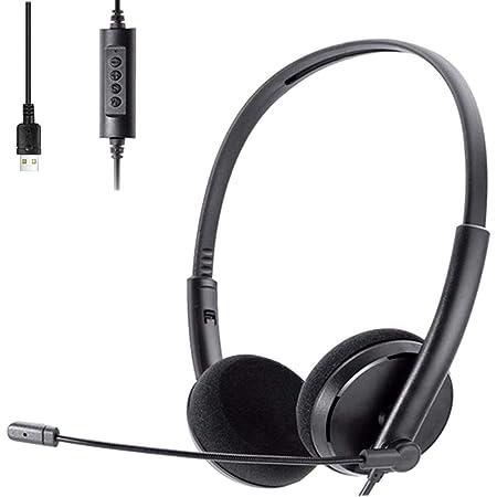 Cuffie,Cuffie Gaming,Auriculares USB para PC con micrófono,Cancelación de Ruido y Controles de Audio,Auriculares para PC para Juegos,Centro de Llamadas de Skype,Computadora de Oficina,Voz Clara