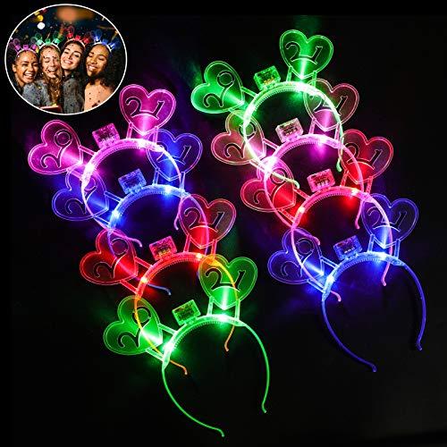 Joyibay LED Stirnband Bunt Leucht Hairband Party Kopfschmuck LED Stirnband 2021 Kostüm Haarband für Silvesterparty, Weihnachten, Geburtstagsfeier etc(8PCS)