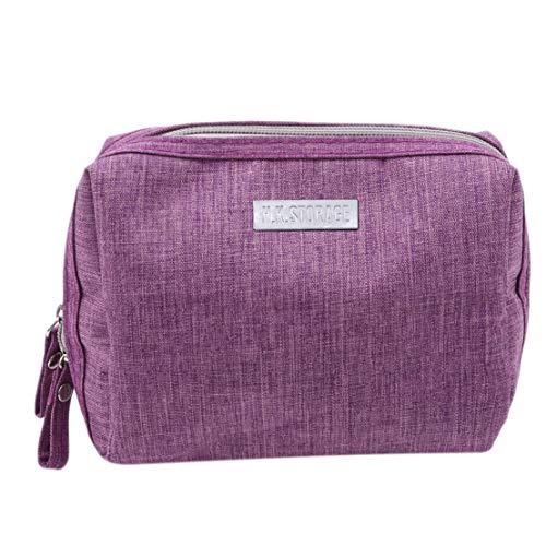 Kissherely Travel Wash Bag Étanche Cosmétique Organisateur Sac Porte trousse De Toilette Portable Fermeture Éclair Maquillage Toilettage Trousse De Stockage (Violet)